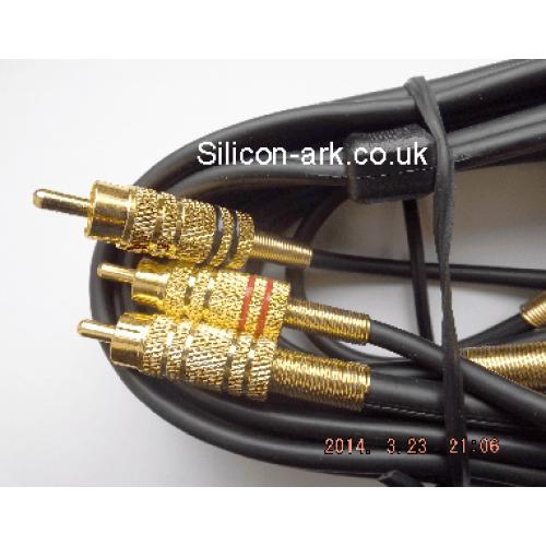 3 phono to 3 phono gold plugs 1.5 Metre