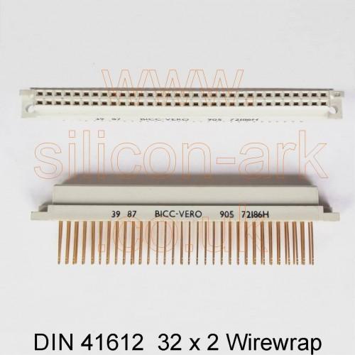 64-way Eurocard socket DIN41612  wirewrap (905-72186H) - Bicc-Vero