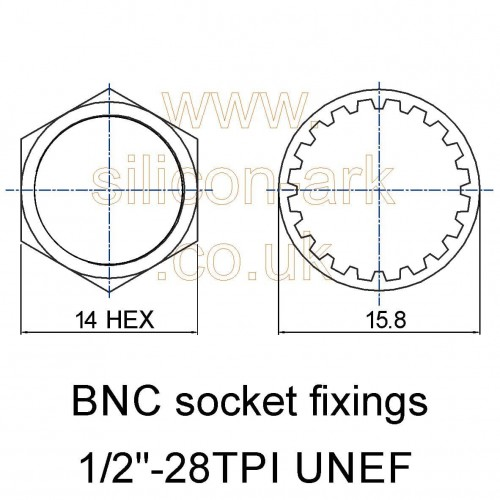 "BNC socket fixings kit 1/2"" 28TPI UNEF (10 pack)"