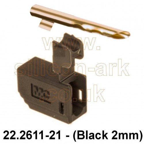Banana plug - 2mm Black male  (22.2611-21) - Multi-Contact