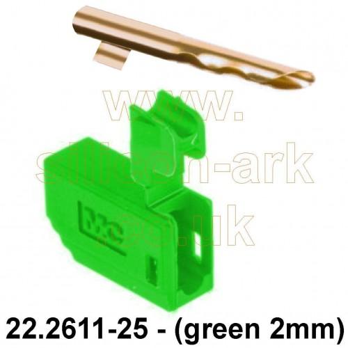 Banana plug - 2mm Green male  (22.2611-25) - Multi-Contact